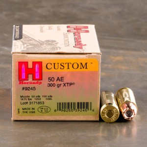 200rds - 50 Action Express Hornady Custom 300gr. XTP JHP Ammo
