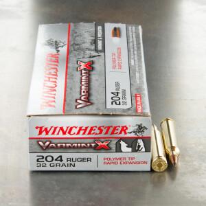 20rds – 204 Ruger Winchester Varmint-X 32gr. PT Ammo