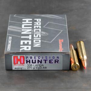20rds – 338 Lapua Magnum Hornady Precision Hunter 270gr. ELD-X Ammo