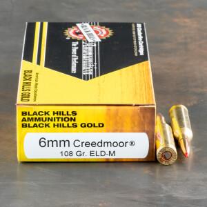 20rds – 6mm Creedmoor Black Hills Gold 108gr. ELD Match Ammo