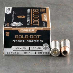 20rds – 45 ACP Speer Gold Dot 185gr. JHP Ammo