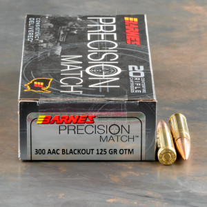 20rds – 300 AAC Blackout Barnes Precision Match 125gr. OTM BT Ammo