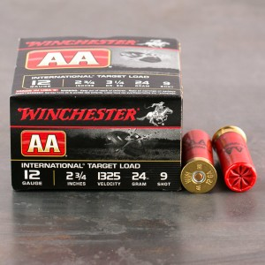 "25rds – 12 Gauge Winchester AA International Target 2-3/4"" 7/8 oz. #9 Shot Ammo"