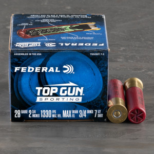 "25rds – 28 Gauge Federal Top Gun Sporting 2-3/4"" 3/4oz. #7.5 Shot Ammo"