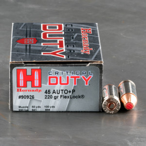 20rds – 45 ACP +P Hornady Critical Duty 220gr. FlexLock Ammo