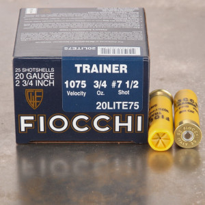 "25rds - 20 Gauge Fiocchi 2 3/4"" 3/4oz. #7 1/2 Shot Trainer Ammo"