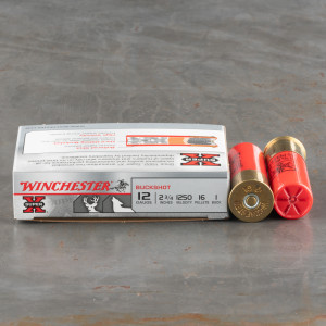 """250rds - 12 Ga. Winchester 2 3/4"""" 16 Pellet #1 Buckshot Ammo"""