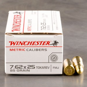 50rds - 7.62x25 Tokarev Winchester 85gr. FMJ Ammo