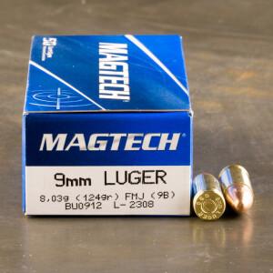 50rds - 9mm MAGTECH 124gr. FMJ Ammo