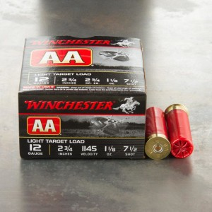 "25rds - 12 Gauge Winchester AA Light Target 2 3/4"" 1-1/8 Ounce #7 1/2 Shot Ammo"