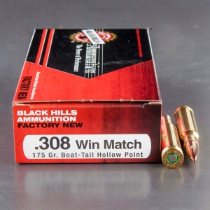 20rds - 308 Black Hills 175gr. Match Boat-Tail Hollow Point Ammo