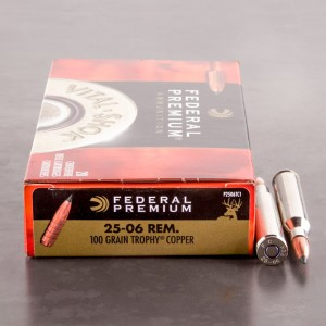 20rds – 25-06 Rem Federal 100gr. Trophy Copper Ammo
