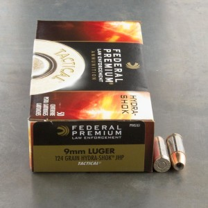 50rds - 9mm Federal LE Tactical Hydra-Shok 124gr. HP Ammo