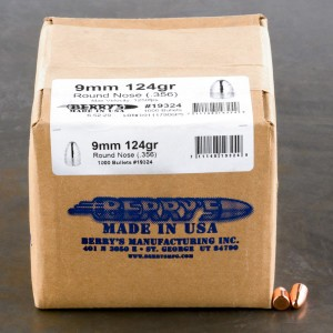 """1000pcs - 9mm .356"""" Dia Berry's 124gr. Plated RN Bullets"""