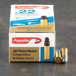 500rds - 22LR Aguila Pistol Match 40gr. Solid Point Ammo