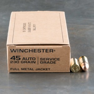 500rds – 45 ACP Winchester Service Grade 230gr. FMJ Ammo