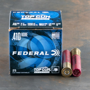 "25rds – 410 Gauge Federal Top Gun Sporting 2-1/2"" 1/2oz. #8 Shot Ammo"