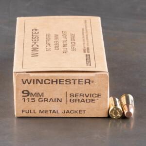 50rds – 9mm Winchester Service Grade 115gr. FMJ Ammo