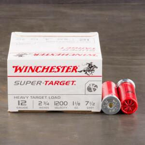 """250rds - 12 Gauge Winchester Super Target 2 3/4"""" 1 1/8oz. 3 Dram #7 1/2 Shot Ammo"""