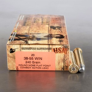 20rds – 38-55 Winchester HSM Cowboy Action 240gr. RN-FP Ammo