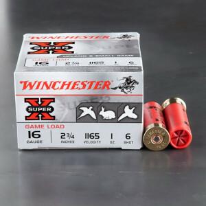 "25rds - 16 Gauge Winchester Super-X 2 3/4"" 1oz. #6 Shot Ammo"
