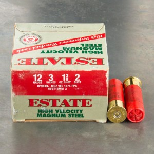 "25rds - 12 Ga. Estate HV 3"" 1 3/8oz. #2 Steel Shot Ammo"