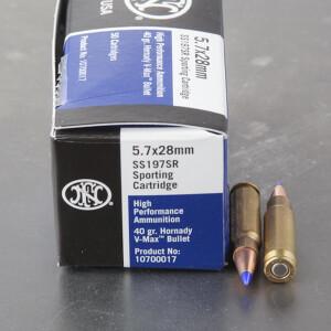 50rds - 5.7 FN SS197SR 40gr. Hornady V-Max Polymer Tip Ammo