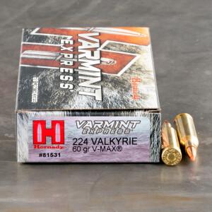 20rds – 224 Valkyrie Hornady Varmint Express 60gr. V-MAX Ammo