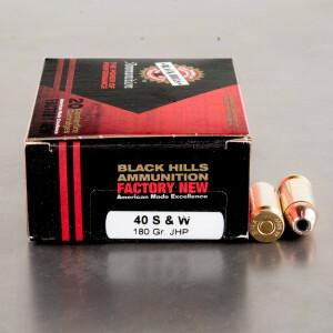 20rds – 40 S&W Black Hills 180gr. JHP Ammo