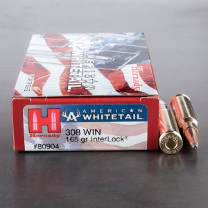 20rds – 308 Hornady American Whitetail 165gr. Interlock Soft Point Ammo