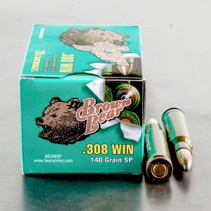 20rds - .308 Brown Bear 140gr. Soft Point Ammo