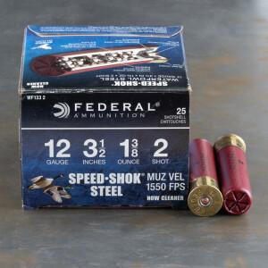 """25rds – 12 Gauge Federal Speed-Shok 3-1/2"""" 1-3/8oz. #2 Steel Shot"""