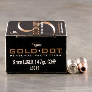 20rds - 9mm Speer Gold Dot 147gr. HP Ammo
