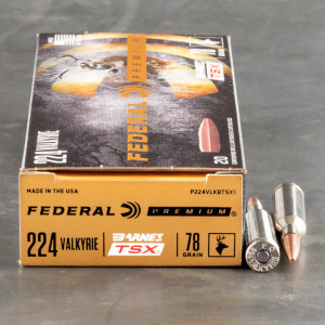 20rds – 224 Valkyrie Federal 78gr. Barnes TSX Ammo