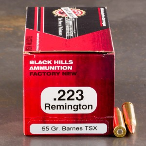 50rds - 223 Remington Black Hills 55gr. Barnes TSX HP Ammo