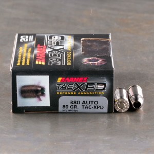 20rds – 380 Auto Barnes TAC-XPD 80gr. TAC-XP SCHP Ammo