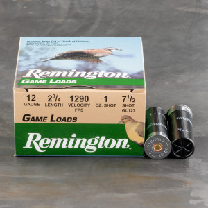 "250rds - 12 Gauge Remington Game Load 2 3/4"" 1oz. #7 1/2 Shot Ammo"