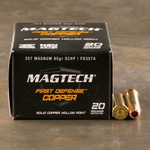 20rds - 357 Mag Magtech 95gr. First Defense Solid Copper HP Ammo