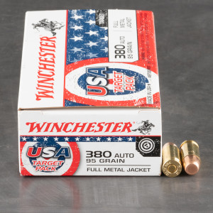 50rds – 380 Auto Winchester USA Target Pack 95gr. FMJ Ammo