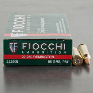 20rds - 22-250 Fiocchi 55gr. Pointed Soft Point Ammo