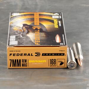 20rds – 7mm Rem Mag Federal 168gr. Berger Hybrid Hunter Ammo