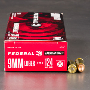 50rds - 9mm Federal American Eagle 124gr. FMJ Ammo