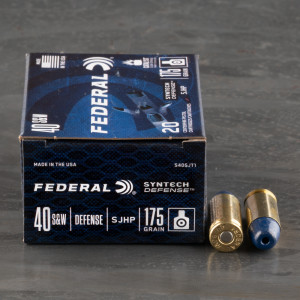 20rds – 40 S&W Federal Syntech Defense 175gr. SHP Ammo