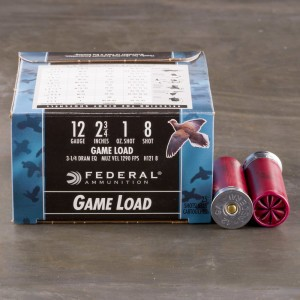 "25rds - 12 Gauge Federal Game Shok 2 3/4"" 1oz. #8 Shot Ammo"
