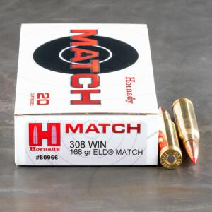 20rds – 308 Win Hornady Match 168gr. ELD Match Ammo