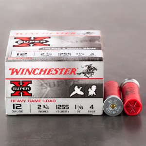 "25rds - 12 Gauge Winchester Super-X Heavy Game 2 3/4"" 1 1/8oz. #4 Shot Ammo"