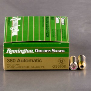 25rds - 380 Auto Remington Golden Saber 102gr. HP Ammo