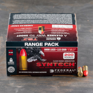 200rds – 9mm Federal Syntech 115gr. Total Synthetic Jacket Ammo