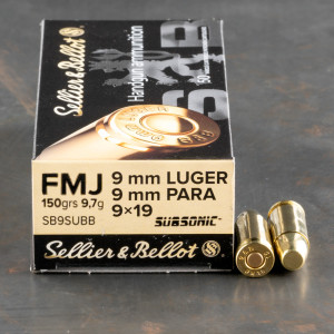 1000rds – 9mm Sellier & Bellot Subsonic 150gr. FMJ Ammo