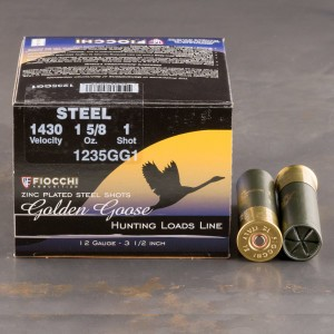 "25rds - 12 Ga. Fiocchi Golden Goose 3 1/2"" 1 5/8oz. #1 Steel Shot"